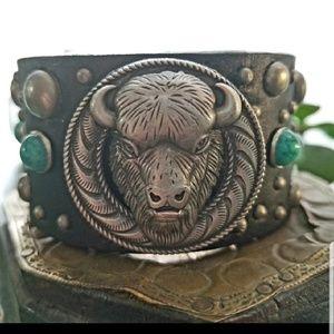 Buffalo Concho Studded Leather Cuff Bracelet